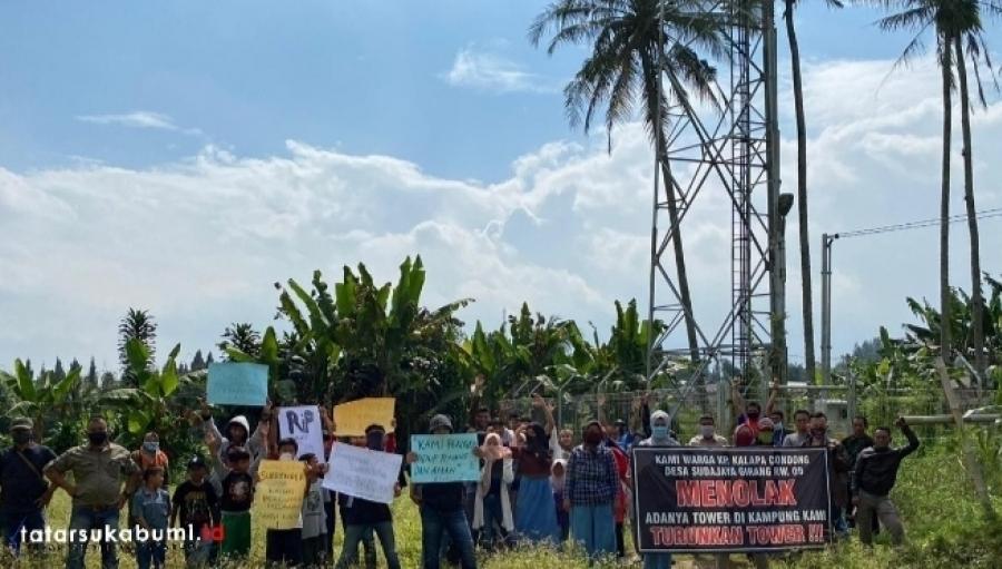 Warga Sudajayagirang Kecamatan Sukabumi Minta Tower Seluler di Bongkar