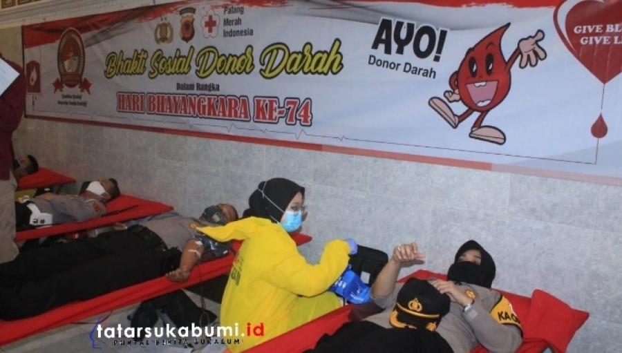 Donor Darah Polres Sukabumi Kota Sambut HUT Bhayangkara Polri ke-74