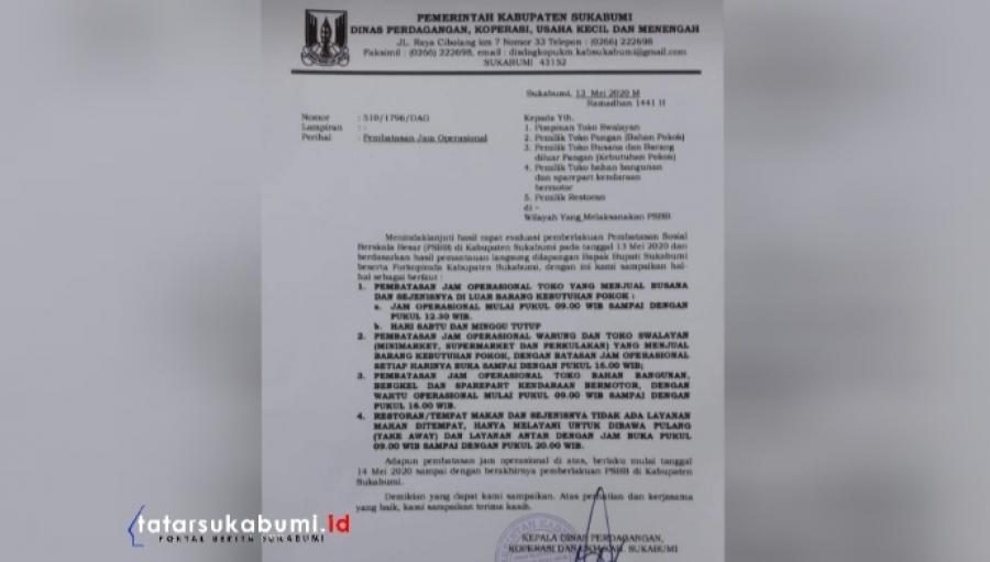 SukabumiTerserah! Aturan Pembatasan Jam Operasional Toko Selama PSBB Tidak Didengar