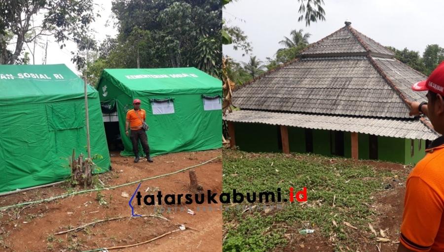 Bencana Pergerakan Tanah Cibadak Ancam Masjid, Tenda-tenda Pengungsi Mulai Didirikan