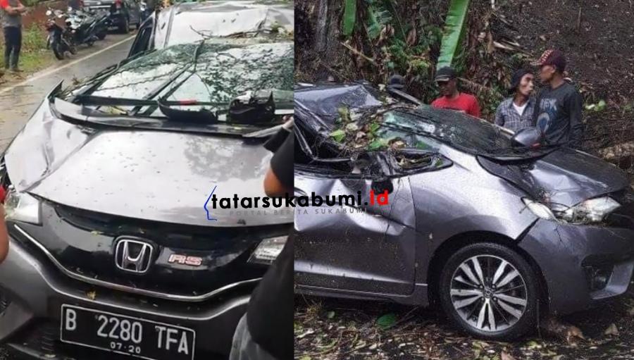 Honda Jazz Tertimpa Pohon Tumbang di Sukabumi