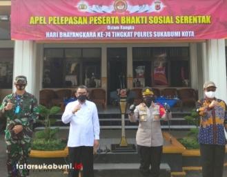 HUT Bhayangkara Polri ke-74 Polres Sukabumi Kota Bagikan 1500 Paket Sembako