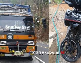 Tabrakan Motor dengan Tronton di Jalan Palabuhanratu - Kiaradua Korban Luka Berat