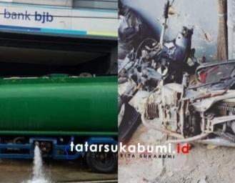 Truk Tangki Air Seruduk Bank BJB Cabang Jampang Kulon Nasabah Jadi Korban