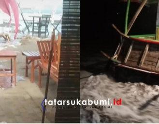 Gelombang Tinggi Air Laut Meluap di Palabuhanratu Sukabumi