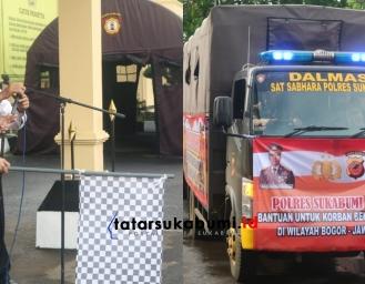 2 Truk Logistik Bantuan Polres Sukabumi Kepada Korban Banjir Longsor Bogor