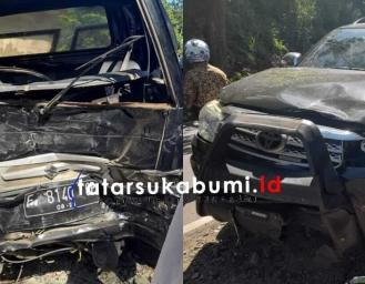 Tabrakan Suzuki Carry Pickup dan Toyota Fortuner di Ruas Jalan Sukabumi Palabuhanratu