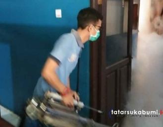 Pandemi Korona Polres Sukabumi Fogging Disinfektan Sejumlah Titik Vital di Palabuhanratu