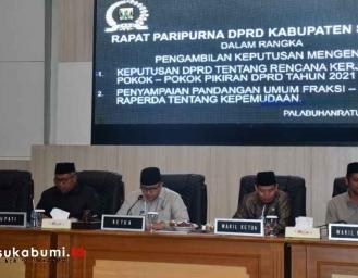 Paripurna Pengambilan Keputusan Rencana Kerja DPRD Kabupaten Sukabumi, Pokir dan Pandangan Atas Raperda Kepemudaan