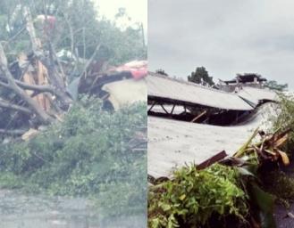 Hujan Angin Terjang Cikidang 23 Bangunan Rusak Tiang Listrik dan Pohon Tumbang