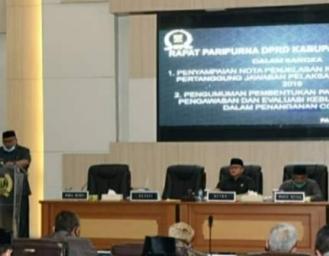 Paripurna DPRD Penyampaian Nota Pertanggung Jawaban APBD 2019 dan Pengumuman Pansus Covid-19 Sukabumi