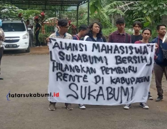 Mahasiswa Demo Dinas Ketahanan Pangan Kabupaten Sukabumi Masalah Lumbung Padi