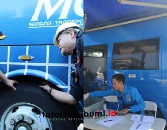 Polres Sukabumi Kota Dishub dan BNNK Sukabumi Rampchek Bus dan Tes Urine Awak Angkutan Umum Jelang Nataru
